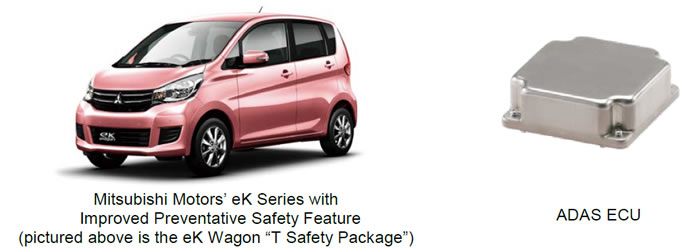"""[image](left)Mitsubishi Motors' eK Series with Improved Preventative Safety Feature (pictured above is the eK Wagon """"T Safety Package""""), (right)ADAS ECU"""