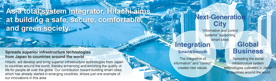 As a total system integrator, Hitachi aims at building a safe, secure, comfortable, and green society.