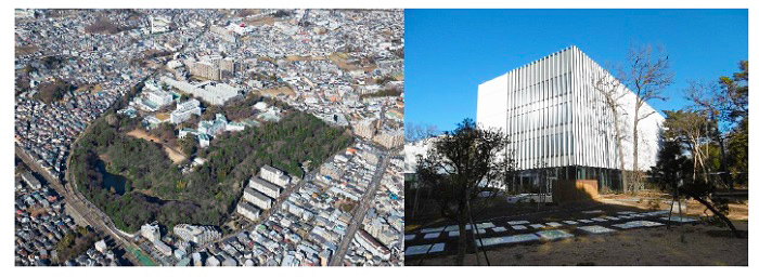 "(left)Aerial view of Kyōsō-no-Mori, (right)New research building ""Kyōsō-to"""
