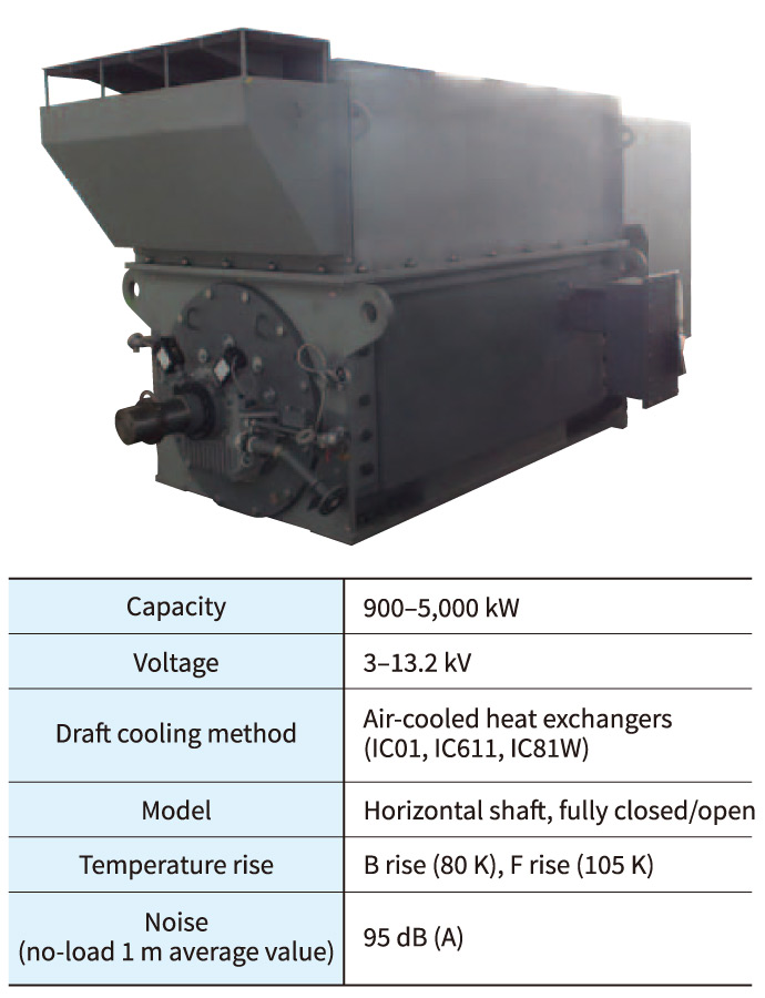 Two-pole motor (top) and main specifications (bottom)