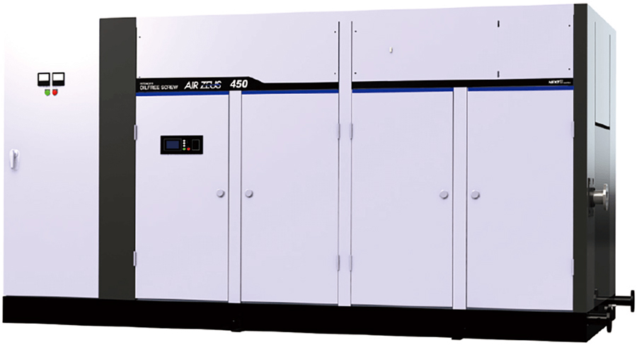 Oil-free rotary screw air compressor (450 kW water-cooled, two-stage model with built-in starter panel)