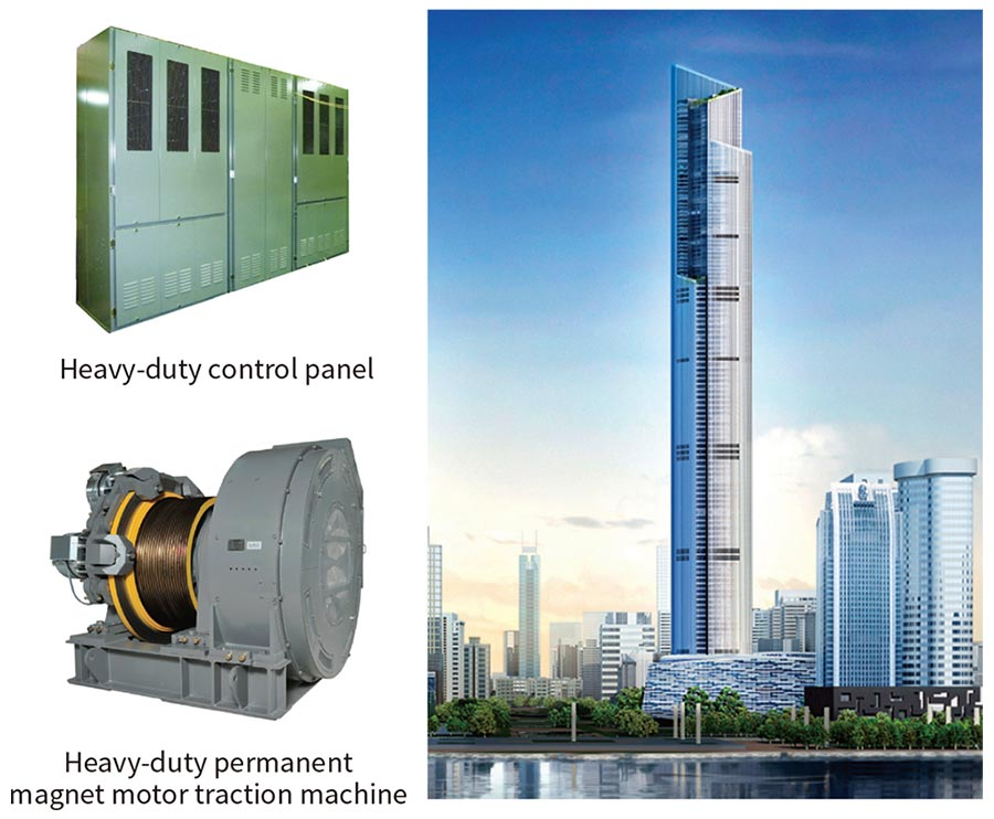Drive and control equipment for 1,260-m/min elevator (left) and artistic impression of Guangzhou CTF Finance Centre (right)