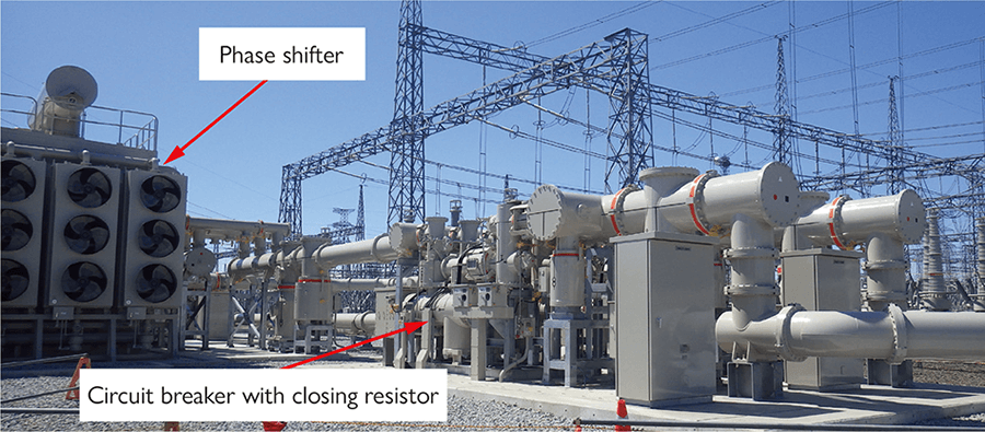 Phase shifter and circuit breaker with closing resistor