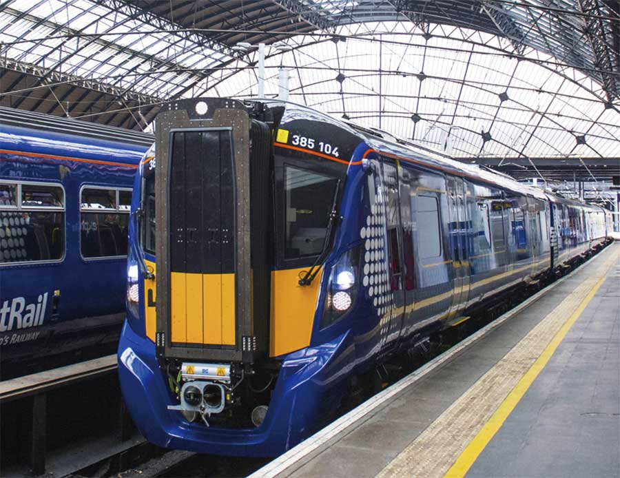 Class 385 train arriving at Glasgow Queen Street station