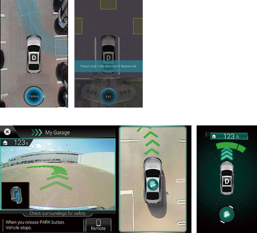 Remote parking system (top) and Park by Memory (bottom)
